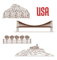 American nature landmarks and sightseeing symbols vector image vector image