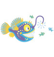 anglerfish hunting on small fishes vector image vector image