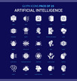 artificial intelligence white icon over blue vector image