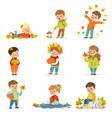 autumn children s outdoor seasonal activities set vector image vector image