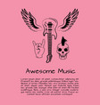 awesome music rock poster vector image vector image