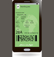 boarding pass on smartphone screen travel concept vector image vector image