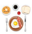breakfast foods top view vector image