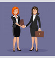 business handshake flat style vector image vector image