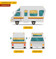 car set for camping caravan with three views vector image vector image