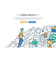 Career Growth line flat design website banner vector image vector image