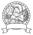 coloring book with funny knitter women emblem vector image vector image
