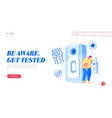 detection aids or hiv disease landing page vector image vector image