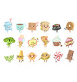 different food childish characters emotion set vector image vector image