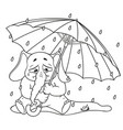 elephant crying under an umbrella autumn rain vector image vector image