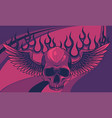 flaming skull with fire wings on vector image