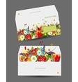 Floral envelope design vector image