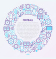 football concept in circle with thin line icons vector image