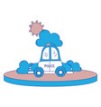 full color police car service with cloud and sun vector image vector image