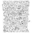 funny pattern crowd people faces vector image