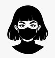 girl in a medical mask in cartoon style vector image