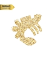 Gold glitter icon of lobster isolated on vector image vector image