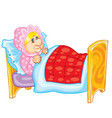 grandmother in a cap lies in bed covered with a vector image vector image