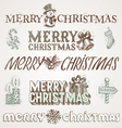Hand drawn Christmas greetings and signs vector image vector image