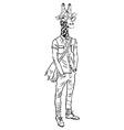 Hand drawn of giraffe hipster vector image vector image