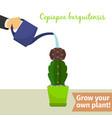 hand watering copiapoa plant vector image vector image