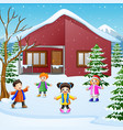 happy kid playing in the snowing village vector image vector image