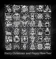 happy new year and merry christmas icons set l vector image vector image