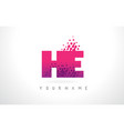he h e letter logo with pink purple color and vector image vector image