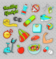 healthy lifestyle set with food and sports vector image