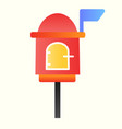 letterbox line icon mail box on stand with handle vector image vector image