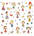 little girls cartoon drawing of children vector image