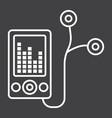 mp player device line icon fitness and audio vector image vector image