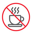 no coffee cup line icon prohibition and forbidden vector image vector image