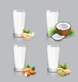 non-dairy milk set vegan nut milk in glass vector image vector image