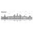 outline madrid spain city skyline with historic vector image vector image