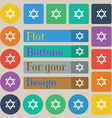 pentagram icon sign Set of twenty colored flat vector image vector image