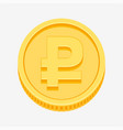 rouble symbol on gold coin vector image vector image