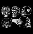set biker skulls vector image