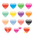 set of hearts and heartbroken vector image