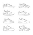 set of modern sneakers sports shoes collection vector image vector image