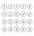 set round line icons of microphone vector image