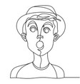 shocked man portrait one line facial expression vector image