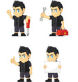 Spiky Rocker Boy Customizable Mascot 9 vector image vector image