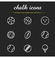 Sport balls chalk icons set vector image