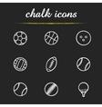 sport balls chalk icons set vector image