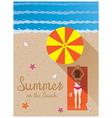 summer woman with bikini sunbaon beach vector image