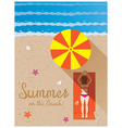 Summer Woman with Bikini Sunbathe on the Beach vector image vector image