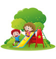 two kids playing slide in the park vector image vector image