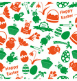 various Easter icons seamless color pattern eps10 vector image