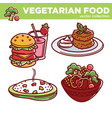 vegetarian food collection of tasty meals vector image vector image